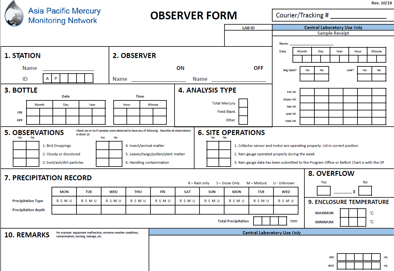 First page of the Observer form